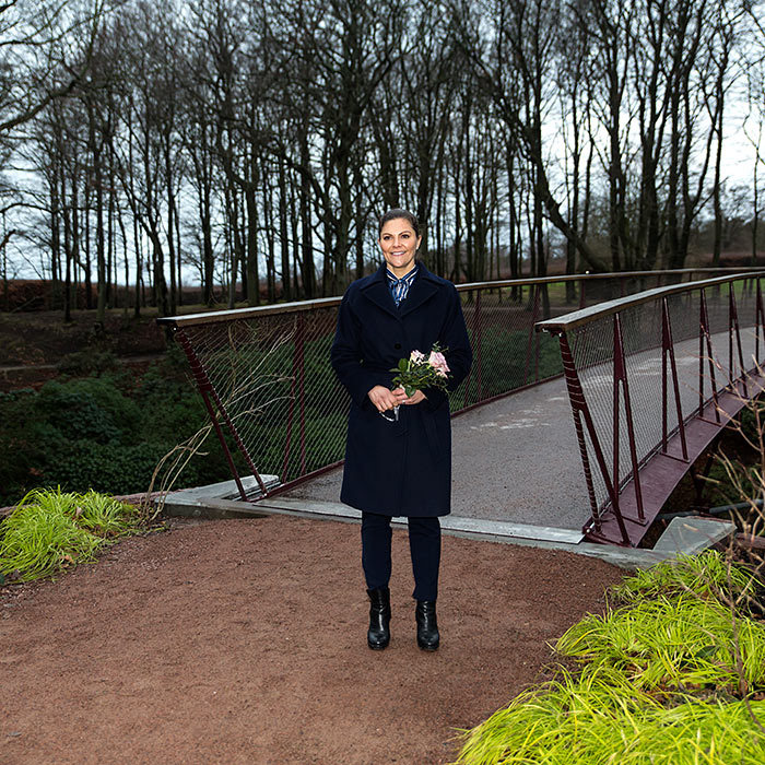 There's no denying Crown Princess Victoria's love for the outdoors! She looked perfectly casual in black jeans, matching black boots, a smart peacoat and a blue-striped collard shirt to visit Sofiero Castle Park on Jan. 16.