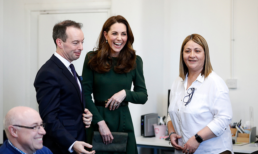 A visit from the Duchess of Cambridge is never without a few laughs. She took some time to meet staff members who've been instrumental in the launch of FamilyLine... and clearly something was funny!