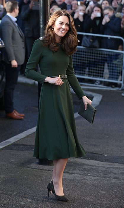 In true duchess form, not a style detail was amiss on Jan. 22! The sun shined down on Kate, who dazzled in a bottle-green dress by one of her favourite labels, Beulah London. She paired the look with richly textured accessories – like a crocodile-inspired belt, olive-green suede pumps and a matching envelope clutch.