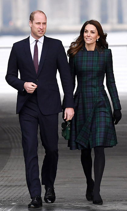 For a trip to Dundee, Scotland on Jan. 29, the Duchess of Cambridge recycled an old favourite – her beautiful tartan Alexander McQueen coat dress! The royal accessorized with with a sweet green by MANU Atelier and anchored the look with her go-to black suede Tod's pumps. Keeping her warm that day was an unidentified green scarf and black gloves by Cornelia James.