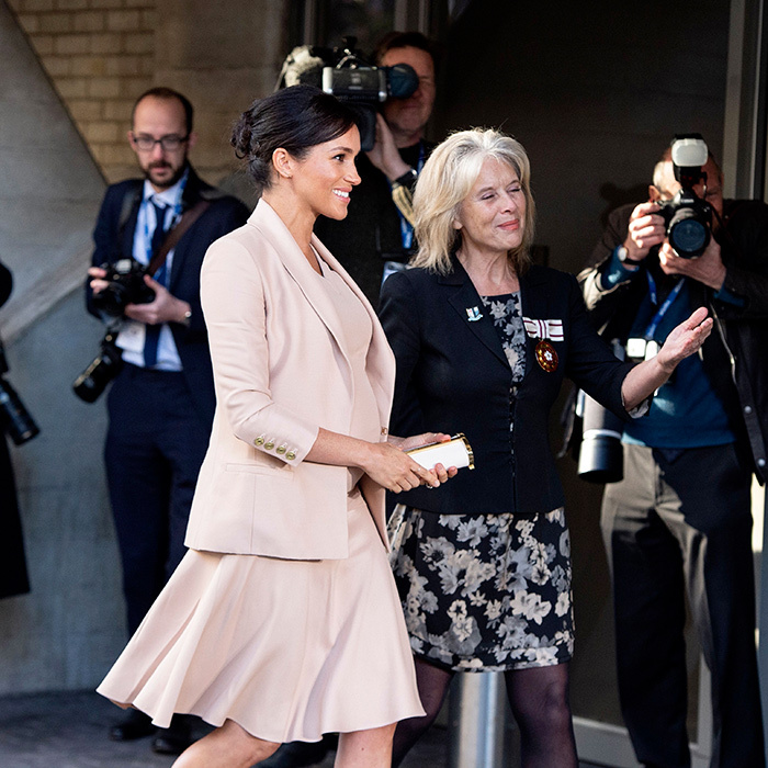 The pregnant royal appeared to be full of energy for her first visit as patron of the theatre. Over the following two days, she'll be meeting with the Association of Commonwealth Universities, followed by a day out in Bristol with her husband, Prince Harry. 