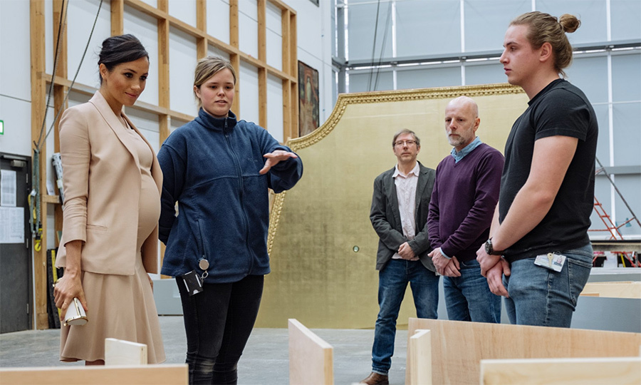 The Duchess of Sussex meets current and former National Theatre apprentices.