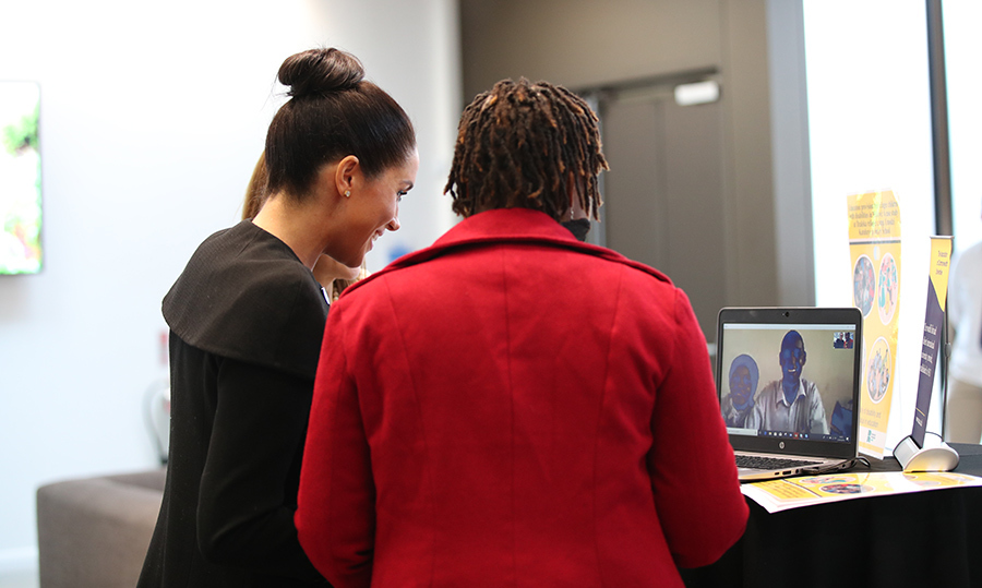 Meghan spoke over Skype to Hilary Harawo, a student in Ghana, during her visit. In her new role as Patron of the international organization, which is dedicated to building a better world through higher education, the duchess met students from the Commonwealth now studying in the UK, for whom access to university has transformed their lives.