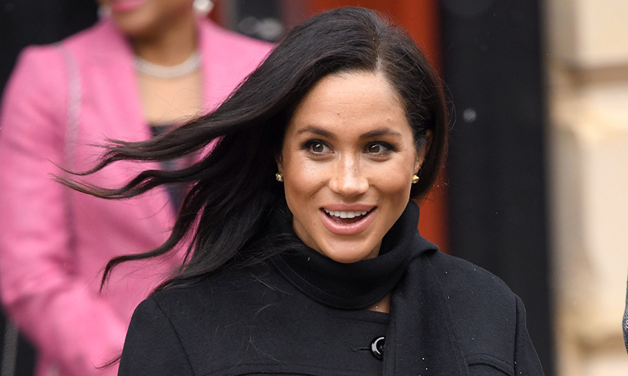 Meghan kept her long raven locks by her shoulders in pretty waves – a change from yesterday's knot bun for a visit to the University of London for a meeting with the Association for Commonwealth Universities. The pregnant royal's makeup look was simple and refined – her natural beauty shining through – with a simple swipe of pink lipstick and subtle smoky eye.