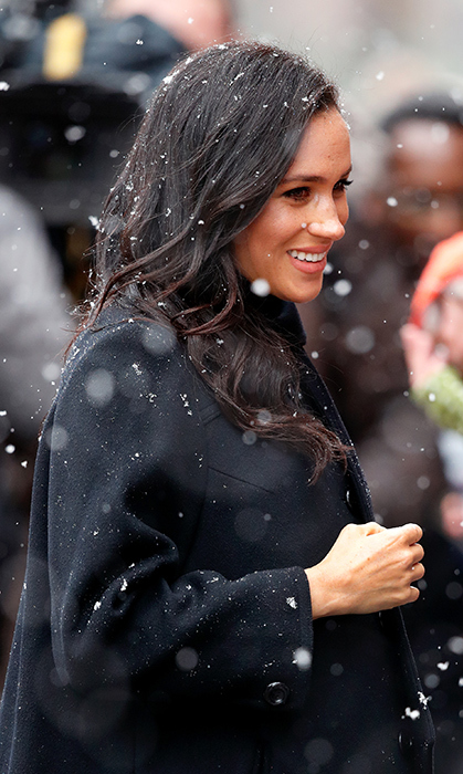 The Duchess of Sussex looked plucked from a fairy tale with Bristol's snow fall!