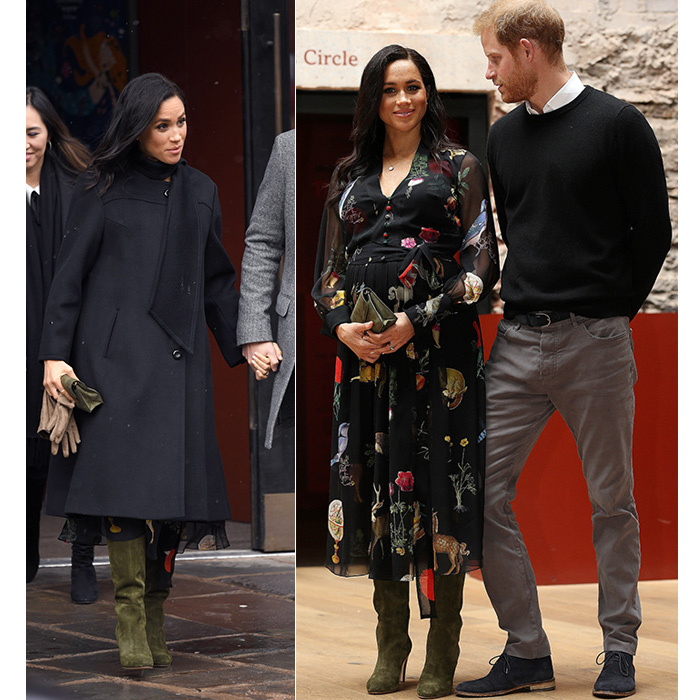 On Feb. 1, the Duchess of Sussex bundled up for the cold for a visit to Bristol! She dazzled in an elegant black coat by London-based designer William Vintage and an Oscar de la Renta belted printed silk-chiffon dress. Her boots, by Sarah Flint, were the ultimate accessory to bring some colour to the blustery day. She held a green bespoke Ralph Lauren clutch to match, keeping her long raven locks by her shoulders in pretty waves – a change from yesterday's knot bun for a visit to the University of London for a meeting with the Association for Commonwealth Universities.