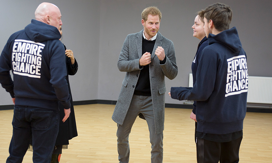 Prince Harry squared up for a good cause! He and Duchess Meghan visited Empire Fighting Chance – a charity the supports local youth through boxing – and chatted with Lestyn Jones and Sarah Lucey.