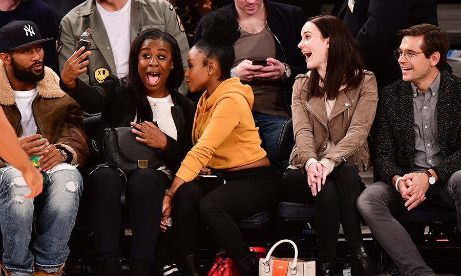 Stop, drop and selfie! On Feb. 1, <em>Orange is the New Black</em>'s Uzo Aduba, her pal, <em>The Marvelous Mrs. Maisel</em> star Rachel Brosnahan and actor Jason Ralph snapped a photo together at a New York Knicks game together.