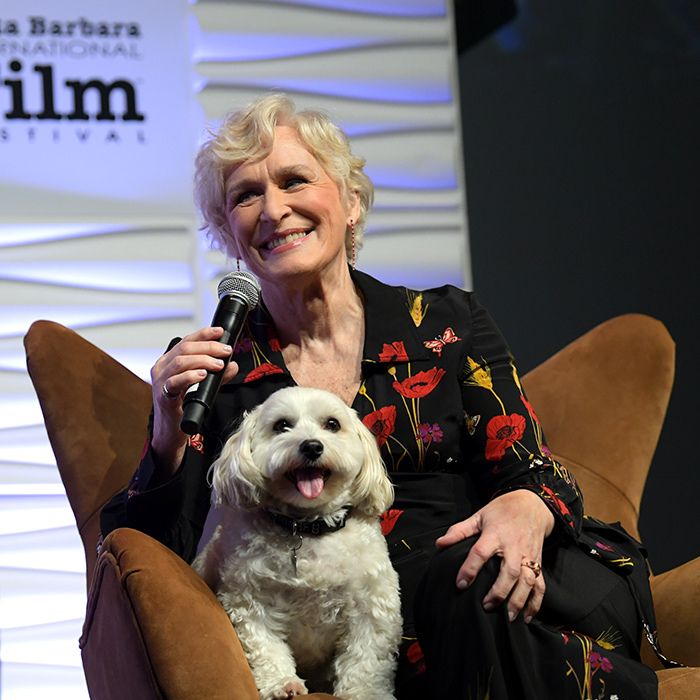Puppy love! Glenn Close spoke onstage with her dog Sir Pippin of Beanfield at the 34th Santa Barbara International Film Festival on Feb. 3.
