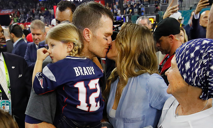Celebrations were in order for Tom Brady and Gisele Bundchen after the New England Patriots took home the Super Bowl win on Feb. 3! The sweet couple shared a kiss, while Tom held their little one, six-year-old Vivian.