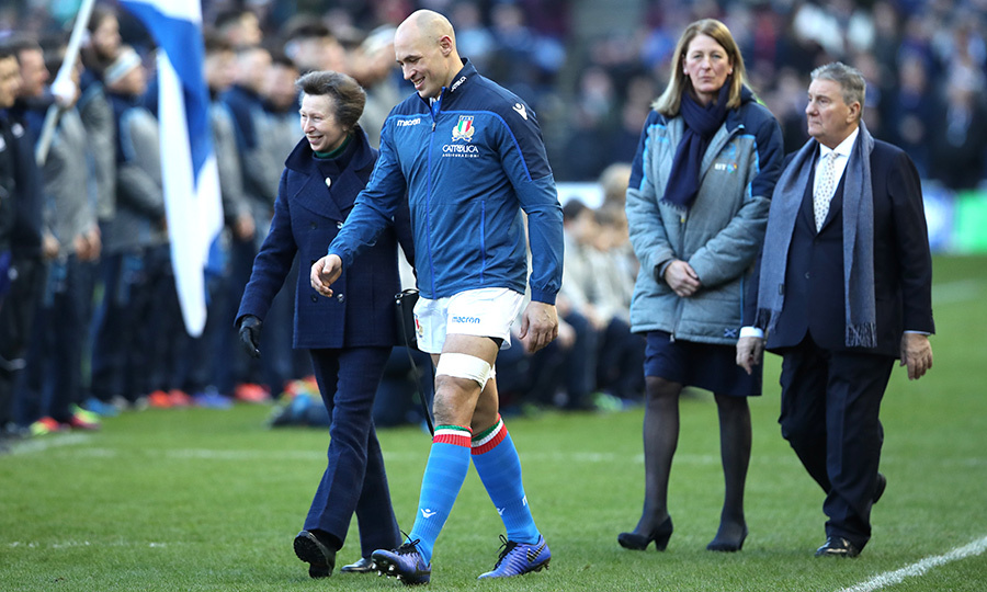 On Feb. 2, Princess Anne got a little sporty and spoke to Sergio Parisse of Italy before the Guinness Six Nations match between Scotland and Italy.