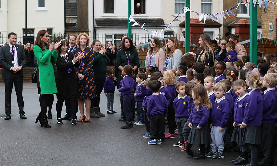 Duchess Kate's first stop of the day was at Lavender Primary School in north London, where she bonded with parents about the challenges of putting in place good routines for their children. The lover of sports also took some time to watch the kids take part in the school's very active Daily Mile challenge!