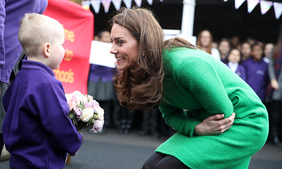 One lucky little boy got some one-on-one time with the Duchess of Cambridge! He even got to hand her a beautiful bouquet of flowers.