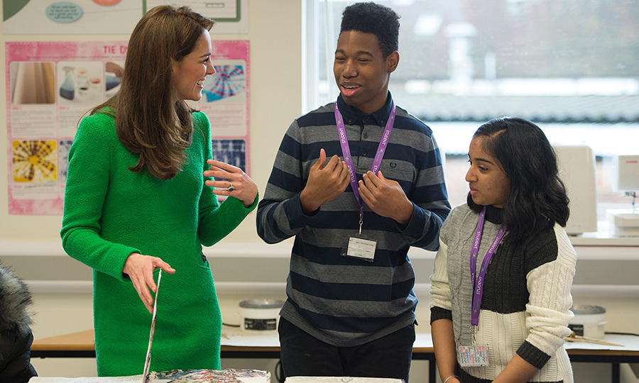 Kate chatted with art students during her visit to Alperton Community School.