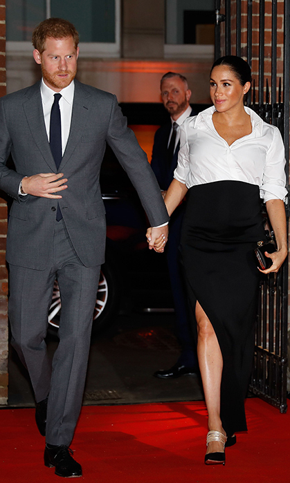 For the Endeavour Awards on Feb. 7, the Duchess of Sussex looked no further than her royal wedding gown designer, Clare Waight Keller for Givenchy. The black-and-white ensemble boasted a flattering leg slit, and she accessorized the look with her Givenchy satin clutch, a new pair of Aquazzura pumps (the Rendez Vous 105s) and her Vanessa Tugendhaft Precious Studs. Her beauty look was perfect – glowing and bronzed, with a pretty pink lip.
