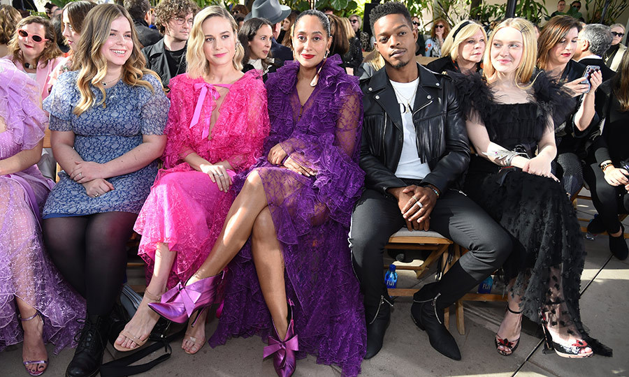 #SquadGoals! <em>Life of the Party</em> star Jessie Ennis, Brie Larson, Tracee Ellis Ross, Canadian star Stephan James and Dakota Fanning attended JNSQ Rose Cru with Rodarte show in Pasadena, California.