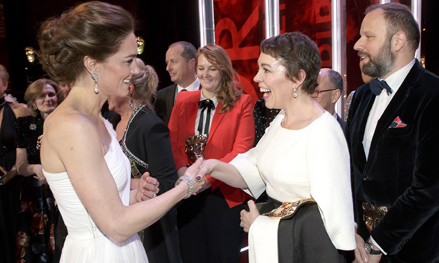 We love when real-life royalty meets on-screen royalty! Olivia Colman and Duchess Kate looked equally happy to be meeting each other at the 2019 BAFTAs. Olivia, 45, took home the award for Best Actress for her role as Queen Anne in <em>The Favourite</em>. She also plays Queen Elizabeth II in the critically acclaimed TV show, <em>The Crown</em>... So she knows a thing or two about the British royals!