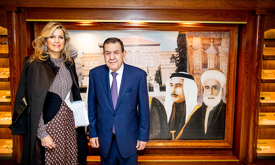 She also met with Dr. Ziad Fariz of the Central Bank, and they stopped for a photo together in front of a beautiful painting.