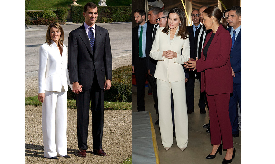 Letizia may be the queen of Spain, but she's also the ultimate queen of recycling fashion! While visiting Morocco with her husband, King Felipe, on Feb. 14, the brunette beauty donned the crisp white Prada suit she wore for her engagement announcement in 2003. That's a whole 16 years since she first wore it!