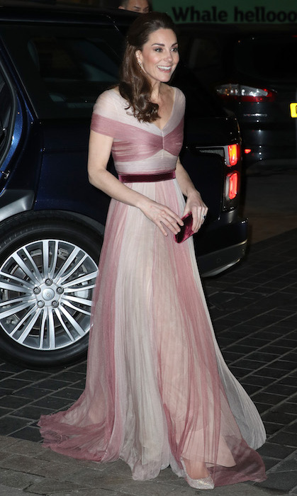 For a gala evening with 100 Women in Finance, for which Kate is a patron, the Duchess of Sussex wore an ethereal blush pink Gucci gown. The dress featured drapes of pink and cream fabric, as well as a crushed velvet berry belt around her midsection. Her small velvet Prada clutch matched the belt perfectly, and she anchored the look with a pair of silver Oscar de la Renta heels. The duchess kept her brunette locks in a half-up-half-down look – perfectly showing off her dazzling Kiki McDonough earrings – keeping her makeup look simple with a smoky eye and bronzed cheek.