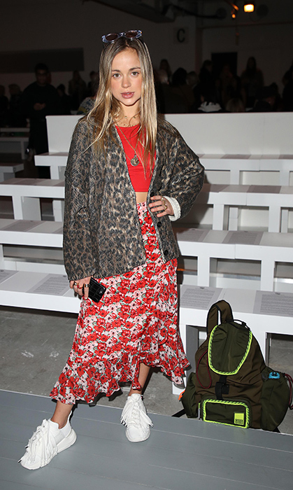 On Feb. 15, Lady Amelia Windsor was spotted at London Fashion Week, mixing floral and leopard patterns in the coolest of ways.