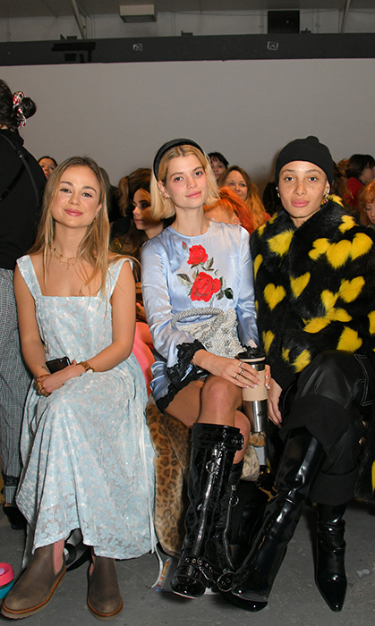 Lady Amelia Windsor, Pixie Geldof and Adwoa Aboah sat together for the Shrimps show at London Fashion Week on Feb. 19.