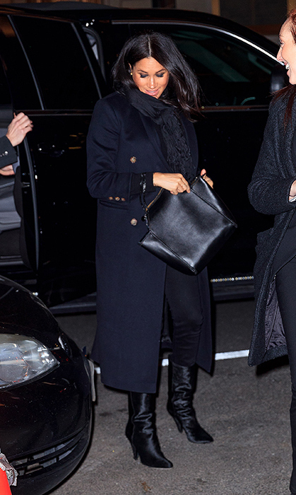With her industry friends in tow, the heavily pregnant duchess wowed in one of her favourite coats by Victoria Beckham. Proving to be another one of her favourite designers, Meghan carried a smooth vegan leather Falabella tote by Stella McCartney and anchored the look with a super chic pair of Tamara Mellon boots, which ring in at around CA$915.