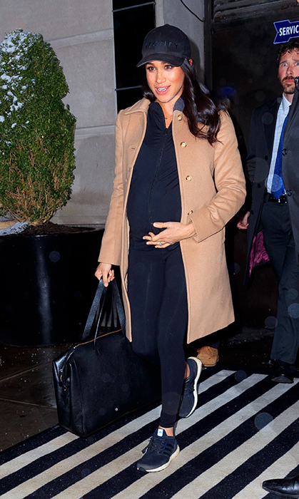 On Feb. 20, 2019, Meghan sported some athleisure to head home to London after her whirlwind trip to New York City. Leaving her hotel in the Big Apple, Meghan definitely gave us some old Toronto style vibes with the black <strong>Rectify</strong> baseball cap she wore on her head – a style she often turned to while blending in to the Canadian city. Keeping her outfit simple, she turned to maternity wear brand <strong>Ingrid & Isabel</strong>, sporting their black activewear hoodie, combined with a pair of <strong><a href=/tags/0/lululemon>Lululemon</strong></a> Align leggings for ultimate comfort. She anchored the look with black <strong><a href=/tags/0/adidas>Adidas</a></strong> Ultraboost sneakers. 