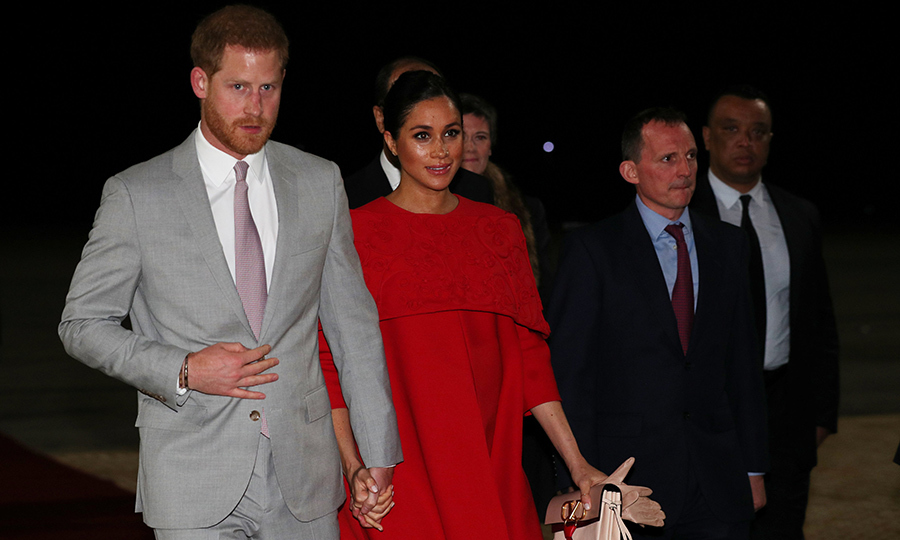 Meghan lovingly clutched Harry's hand as they walked across the tarmac. It's believed the duchess is due to welcome her first child into the royal fold around the end of April or early May.