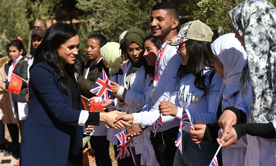 Gaggles of well-wishers were in Asni waiting to shake hands with Prince Harry and Meghan.