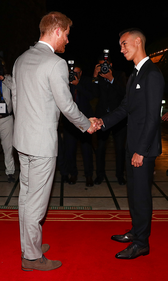 Prince Harry shook hands with 15-year-old Crown Prince of Morocco, Moulay Hassan at a Royal Residence on their first day in Morocco.