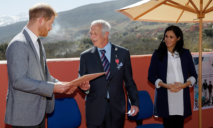 Harry and Meghan presented Michael McHugo with the Most Excellent Order of the British Empire.