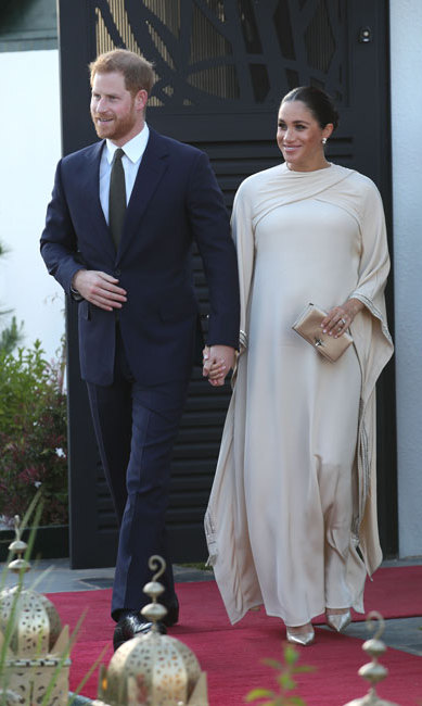 The Duke and Duchess of Sussex dusted off their finest clothes for an evening reception with Thomas Reilly, the British Ambassador to Morocco, and his wife, Alix, in the capital city of Rabat.