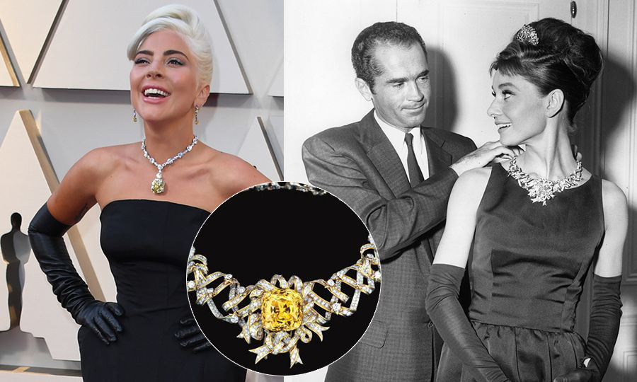 Lady Gaga wore US$30million of Tiffany's jewels around her neck. And guess who wore it last? Audrey Hepburn during her <em>Breakfast At Tiffany's</em> press tour back in 1961. The large yellow diamond was taken from the Ribbon Rosette – designed by Jean Schlumberger – that Audrey wore.