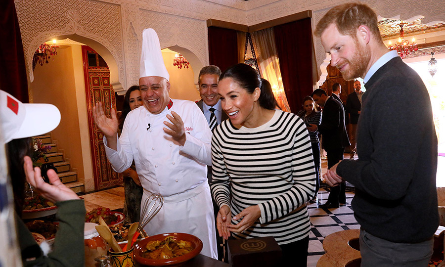 Duchess Meghan shared a hearty laugh with Chef Moha Fedal during a cooking demonstration, where children from under-privileged backgrounds learned traditional Moroccan recipes.