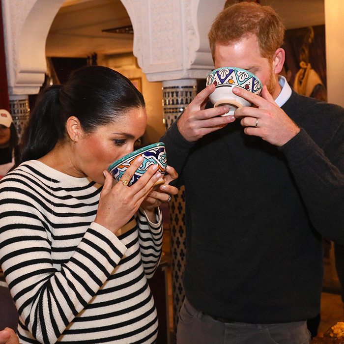 The parents-to-be both tried a traditional Moroccan beverage.