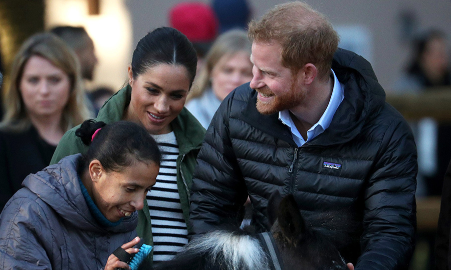The two happily watched a woman brush a pony's mane.
