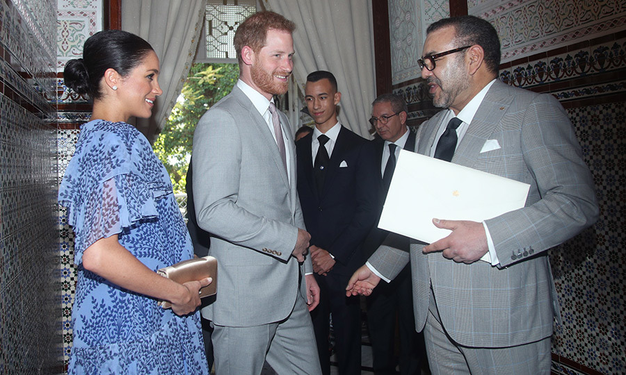 The couple were greeted by King Mohammed VI of Morocco.