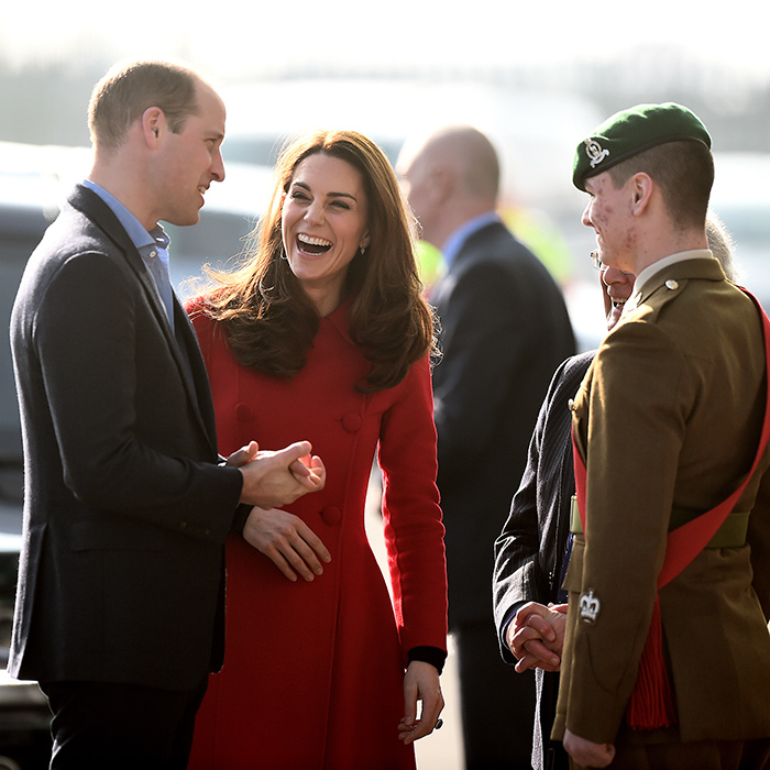 Duchess Kate enjoyed a hearty laugh while she and Prince William arrived at the stadium.