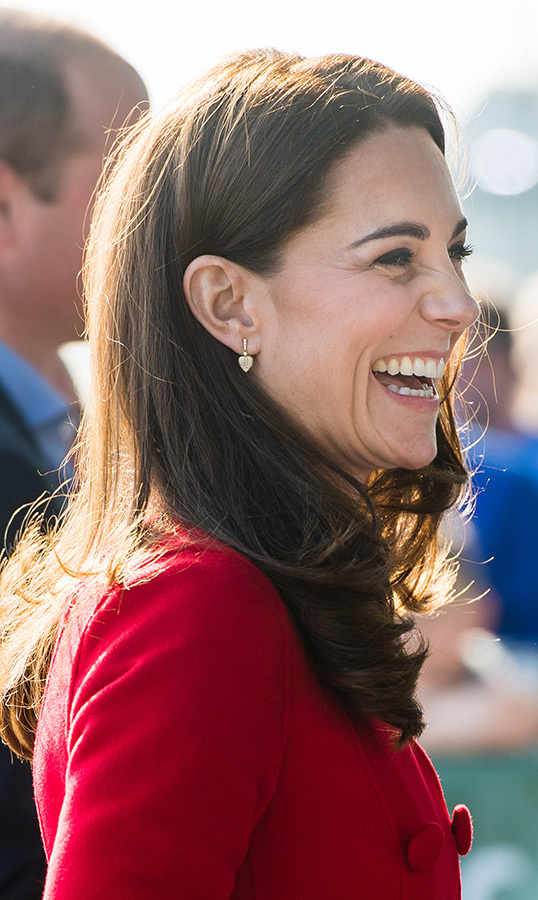 Duchess Kate wore her adorable pair of Kiki McDonough leaf earrings.
