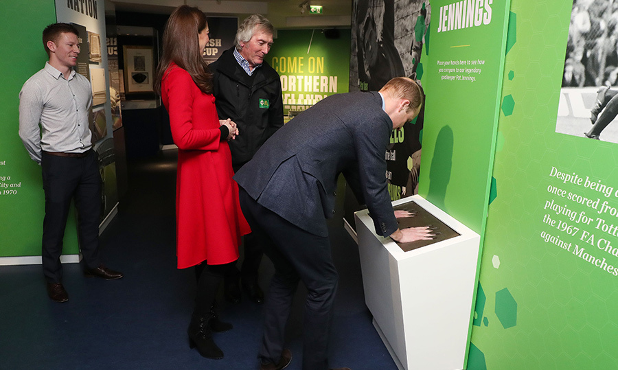 The Cambridge couple had the chance to meet Northern Ireland goalkeeping Pat Jennings during their visit.