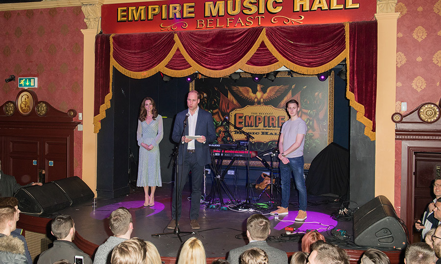 Kate looked on as Prince William gave a speech during a visit to Empire Music Hall.