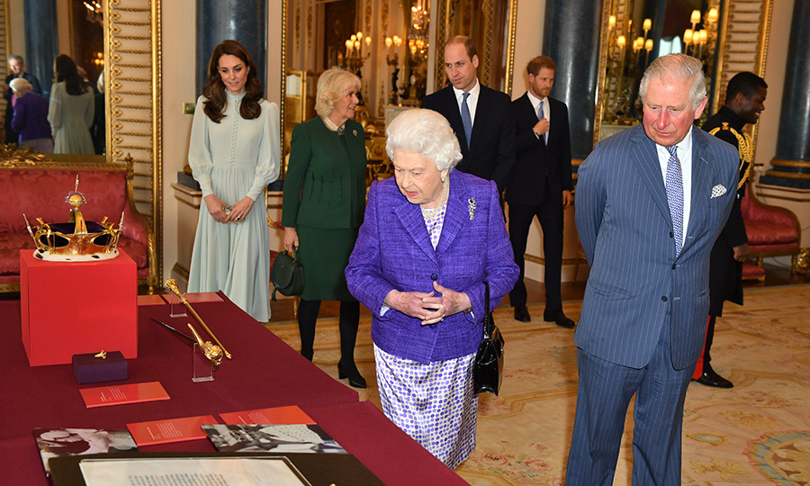The group arrived inside Buckingham Palace together, looking every inch the stylish group of royals they are! The Queen, ever a lover of colour, dazzled in a beautiful purple blazer and white-and-purple satin dress for the occasion, while her son looked dapper in a grey suit.