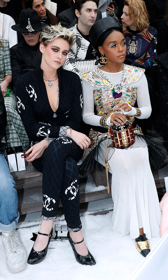 Kristen Stewart and Janelle Monae sat together in the front row for the Chanel show as part of the Paris Fashion Week.