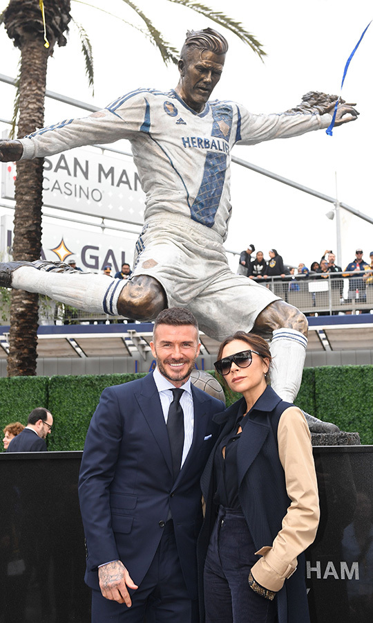 Former Los Angeles Galaxy midfielder David Beckham and his wife Victoria Beckham posed beside his newly unveiled statue at the Legends Plaza in Carson, California on March 2. David played for the Los Angeles Galaxy from 2007 until 2012.