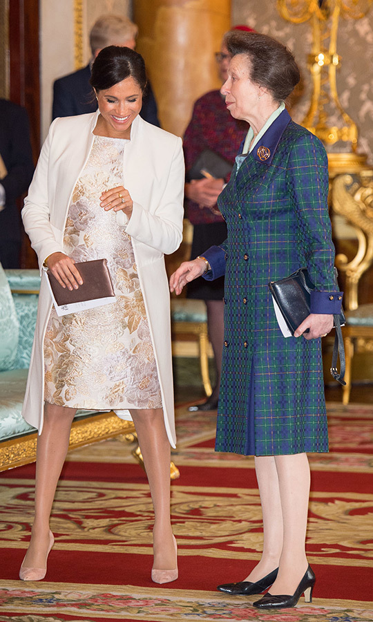 While at Prince Charles's investiture anniversary on March 5, Princess Anne and Duchess Meghan shared a sweet moment together. One of them must've said something funny, as Meghan was in stitches!