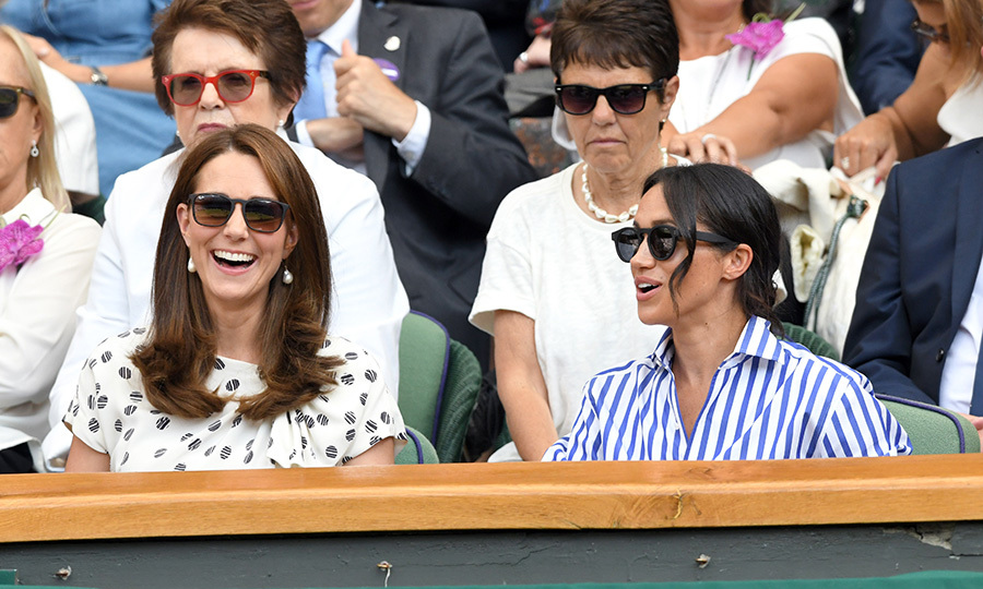 Duchesses Kate and Meghan stunned in two equally chic pairs of sunglasses while attending Wimbledon together in the summer of 2018. This marked their first outing together without their husbands!
