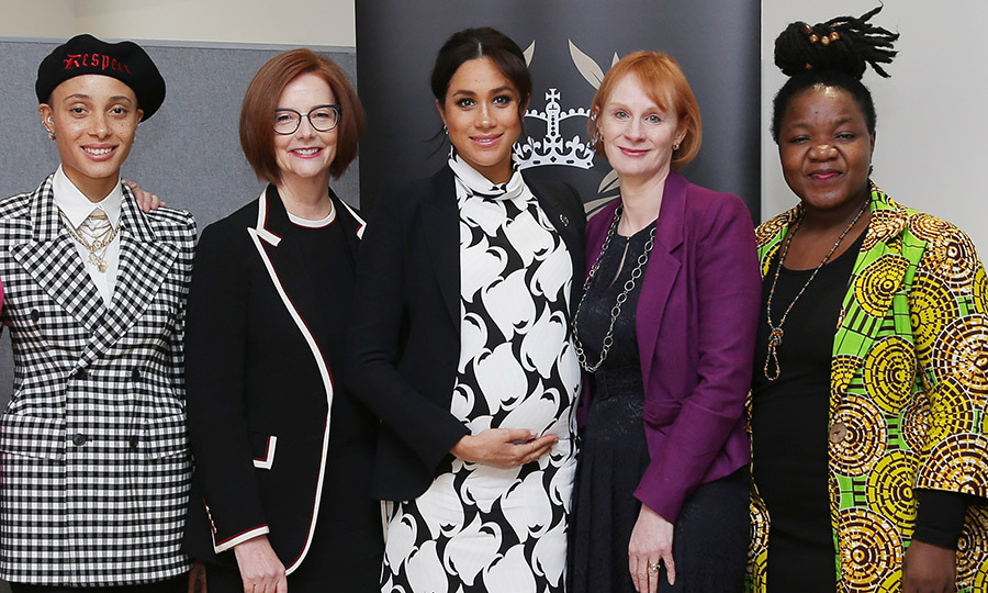 The mom-to-be posed alongside British model Adwoa Aboah, former Australian Prime Minister Julia Gillard, Meghan, British journalist Anne McElvoy and Camfed Regional Director Zimbabwe's Angeline Murimirwa before the panel began.