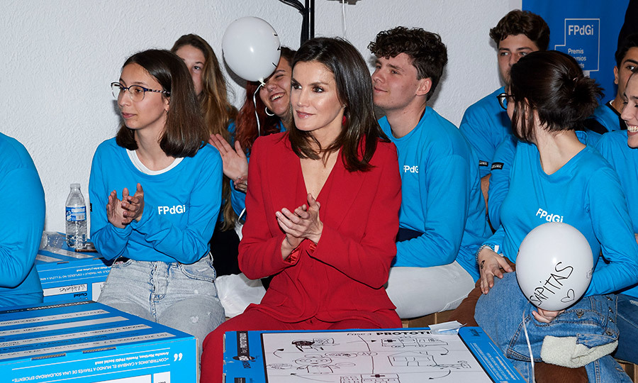 Queen Letizia sat with a group of young women at the 'Premio Fundacion Princesa de Girona' 2019 at the San Francisco cultural centre on March 6.