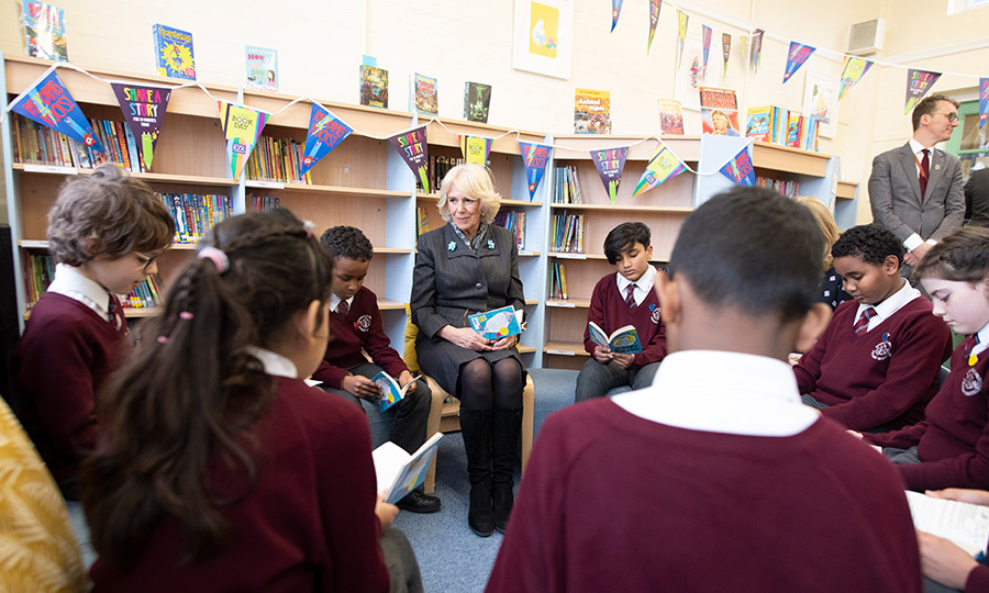 Camilla, Duchess of Cornwall read a story with a class at the Avondale School on World Book Day on March 7.